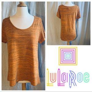 LuLaRoe Orange and Gray T-Shirt Size Large